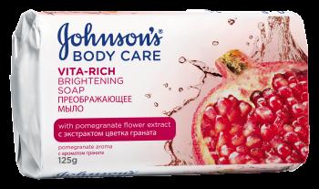 Johnson's <sup>&reg;</sup> BODY CARE VITA-RICH Преображающее мыло с экстрактом цветка граната (c ароматом граната), 125 гр.