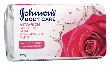 Johnson's <sup>&reg;</sup> BODY CARE VITA-RICH Успокаивающее мыло с розовой водой, 125 гр.